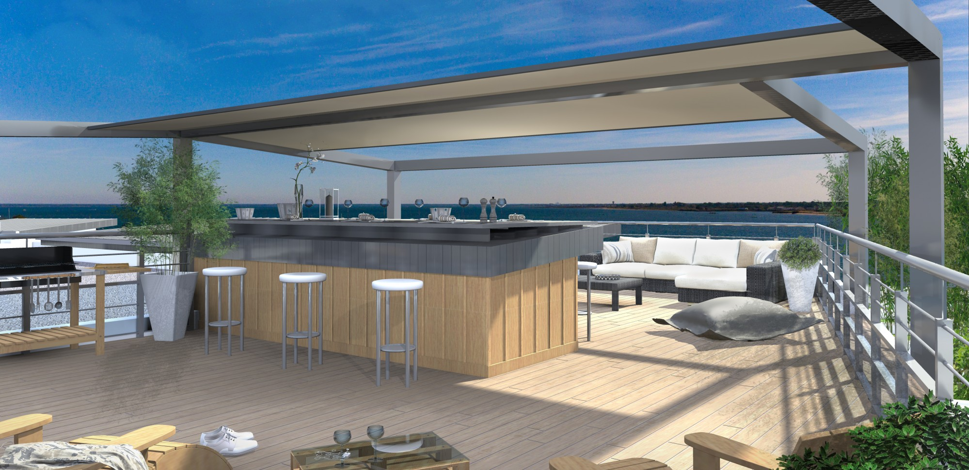 arcachon quartier de l 39 aiguillon appartement neuf avec toit terrasse vue mer barnes bassin d. Black Bedroom Furniture Sets. Home Design Ideas