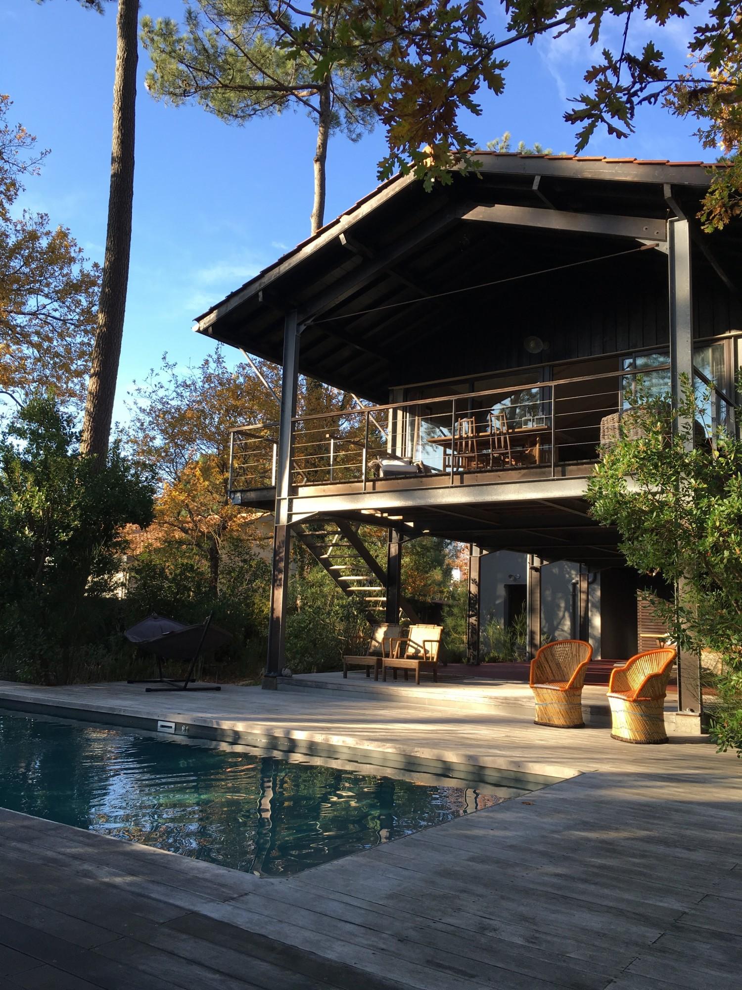 Vendu pyla sur mer villa en bois avec piscine barnes - Camping bassin d arcachon avec piscine ...